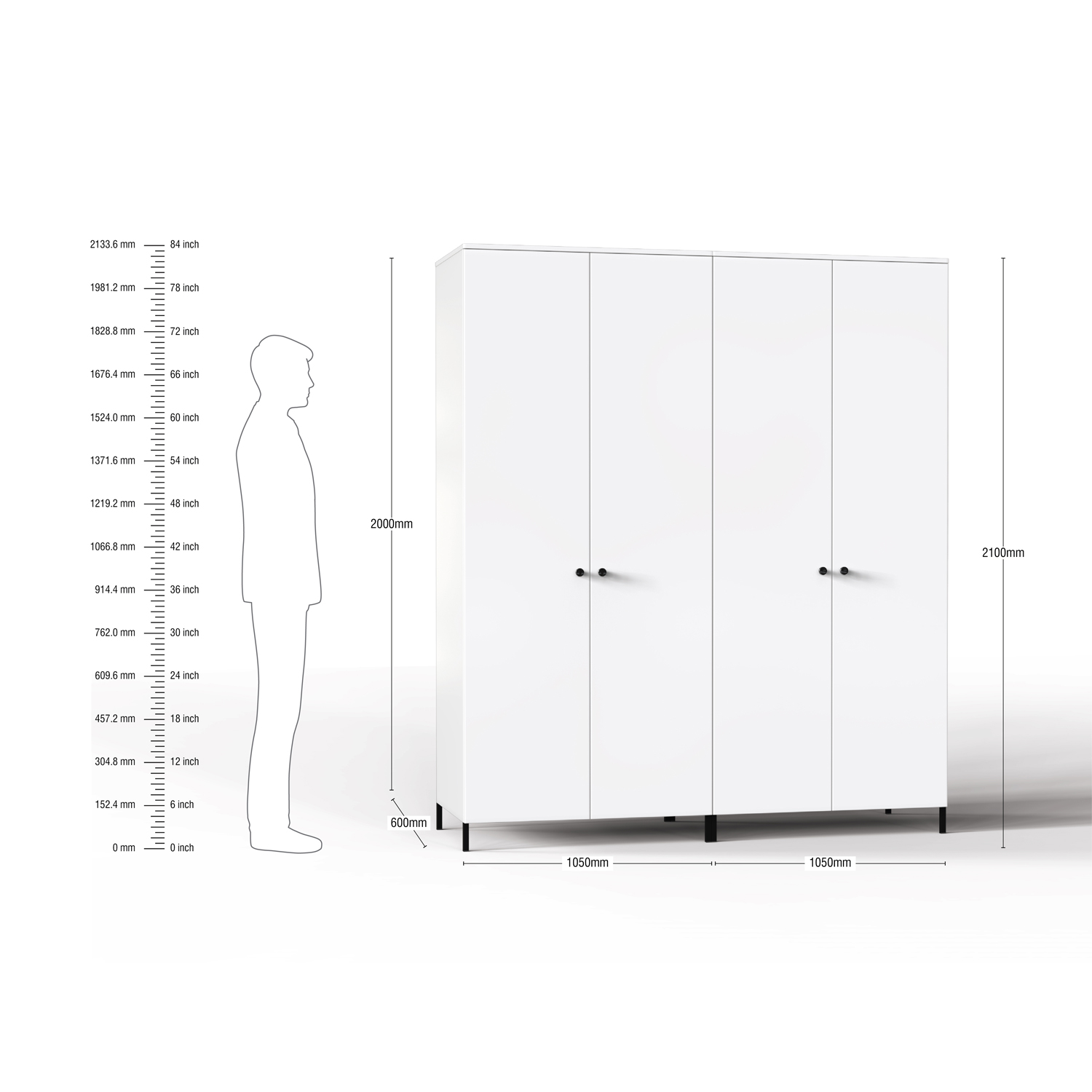 Lambent 4 Door Wardrobe in White and English Ivy Finish – FWRD001 C82