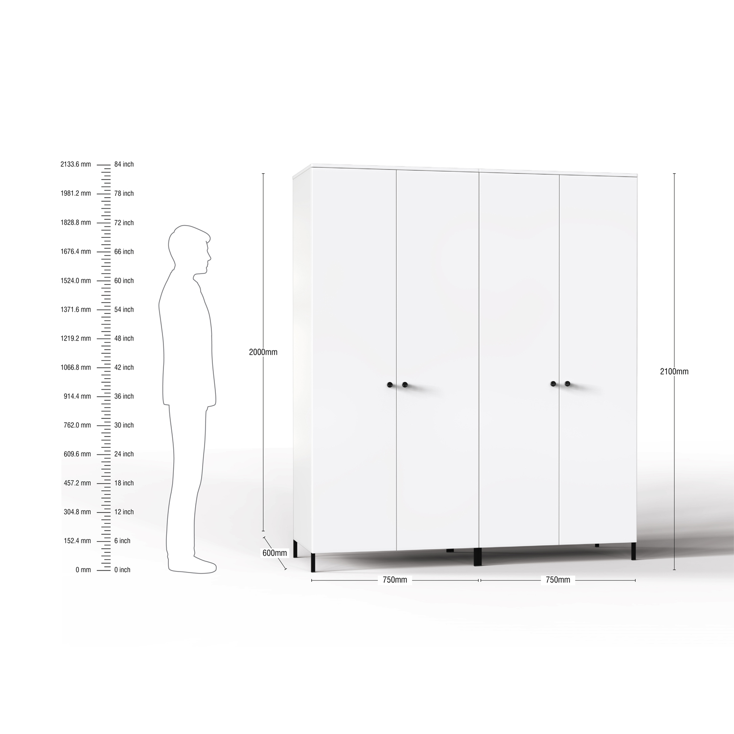 Lambent 4 Door Wardrobe in White and Teak Finish – FWRD001 C9