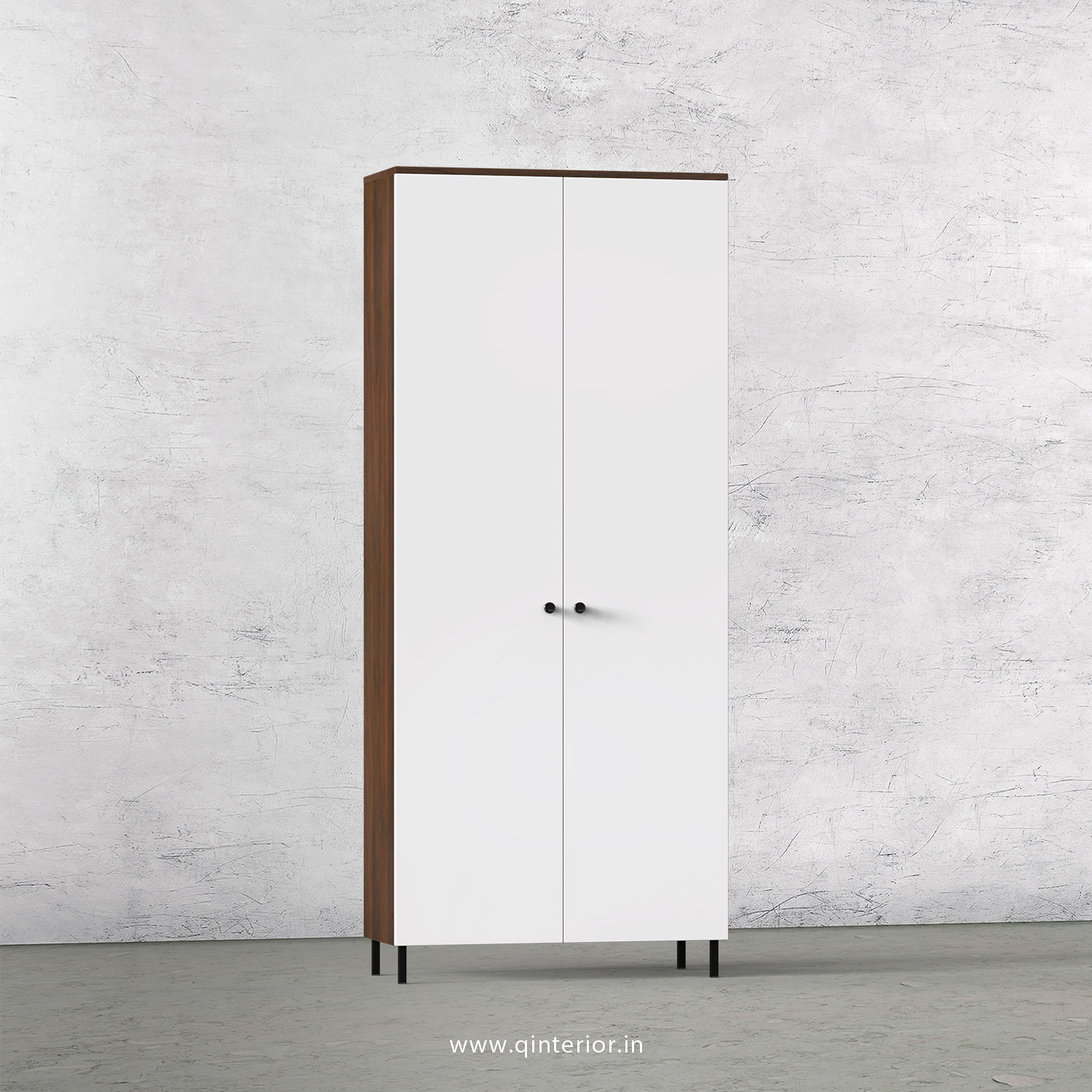 Lambent 2 Door Wardrobe in Walnut and White Finish – DWRD001 C18