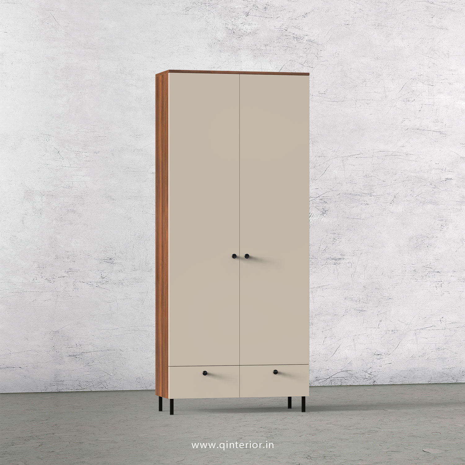 Lambent 2 Door Wardrobe in Teak and Irish Cream Finish – DWRD002 C11