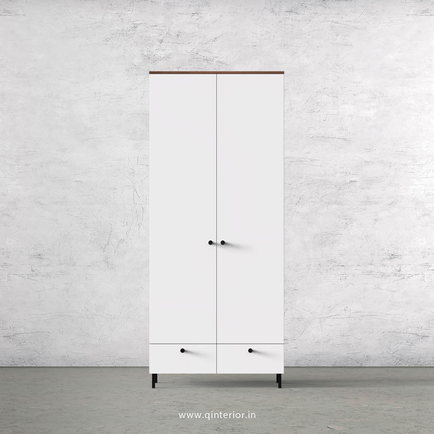 Lambent 2 Door Wardrobe in Teak and White Finish – DWRD002 C6