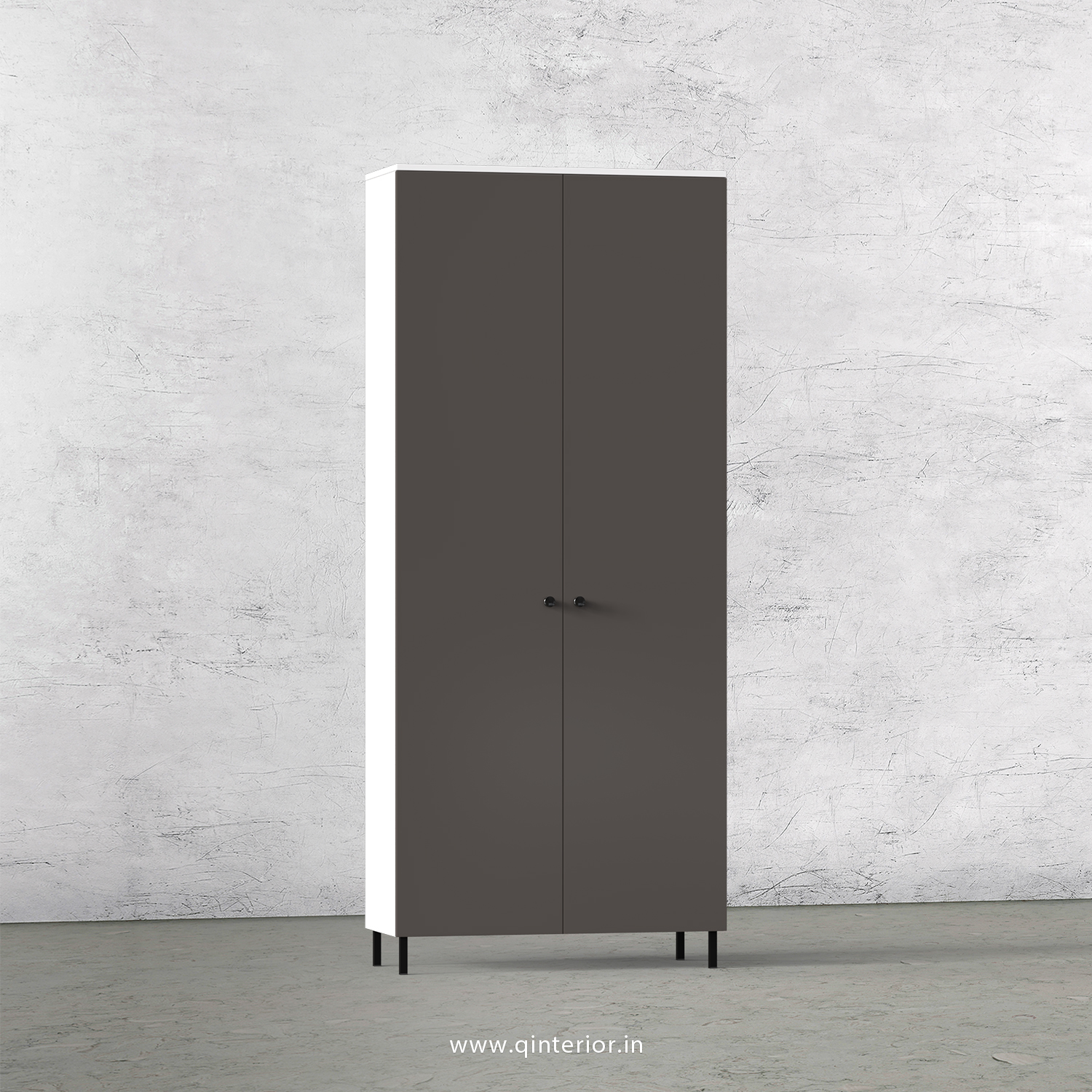 Lambent 2 Door Wardrobe in White and Slate Finish – DWRD001 C16