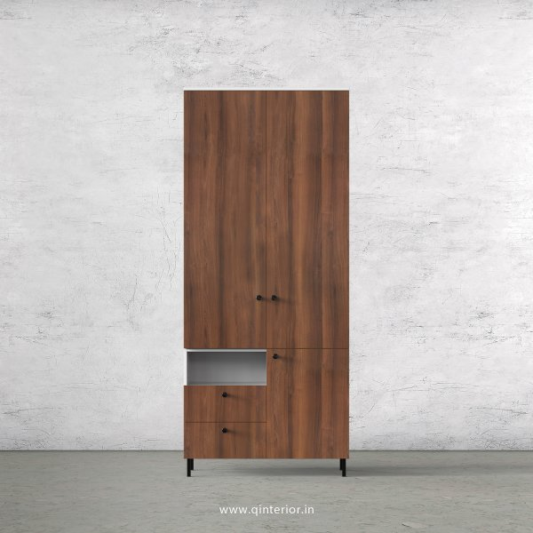 Lambent 2 Door Wardrobe in White and Teak Finish – DWRD042 C9