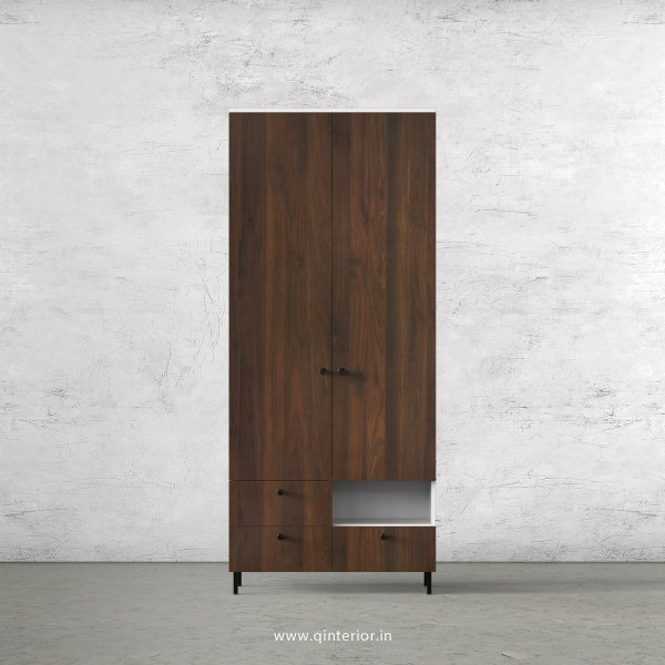 Lambent 2 Door Wardrobe in White and Walnut Finish – DWRD004 C67