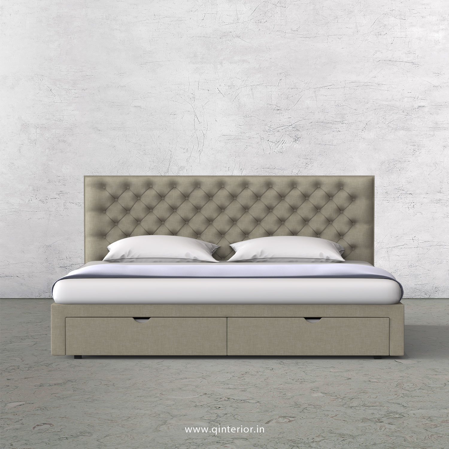 Orion King Size Storage Bed in Cotton Plain - KBD001 CP05