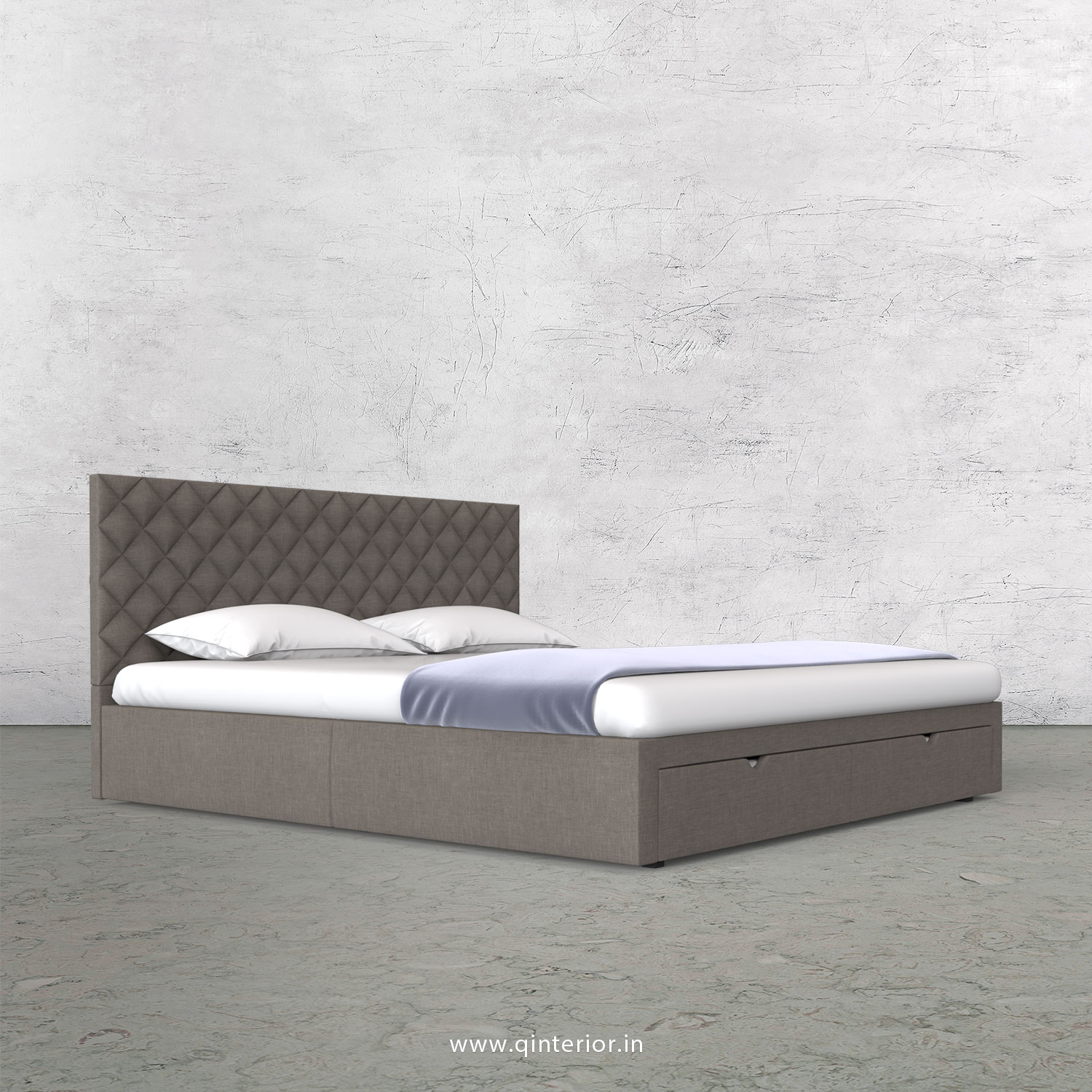 Orion King Size Storage Bed in Cotton Plain - KBD001 CP11