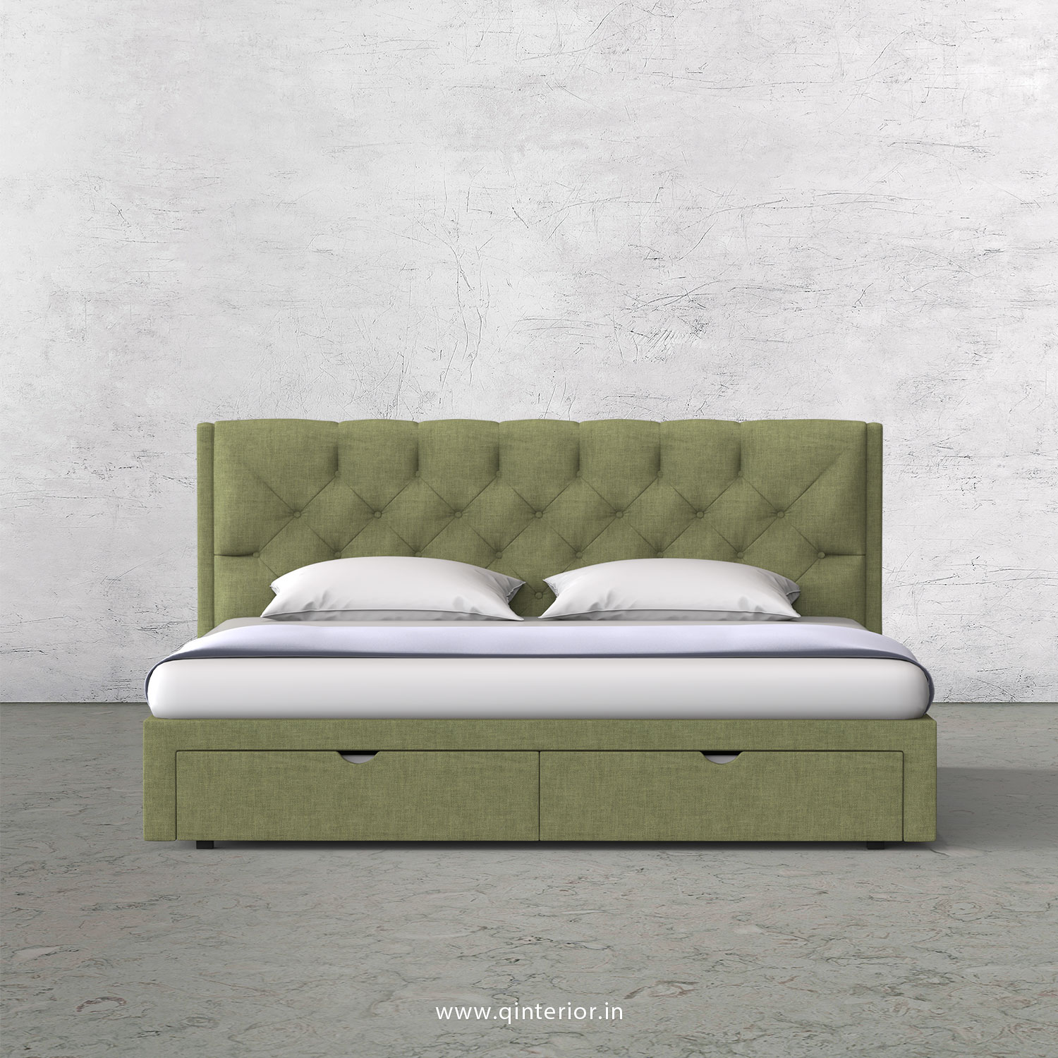 Scorpius King Size Storage Bed in Cotton Plain - KBD001 CP18