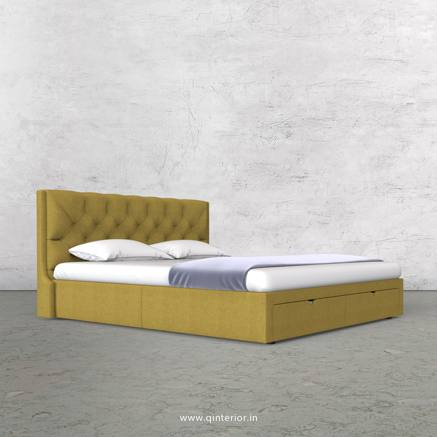 Scorpius King Size Storage Bed in Cotton Plain - KBD001 CP19