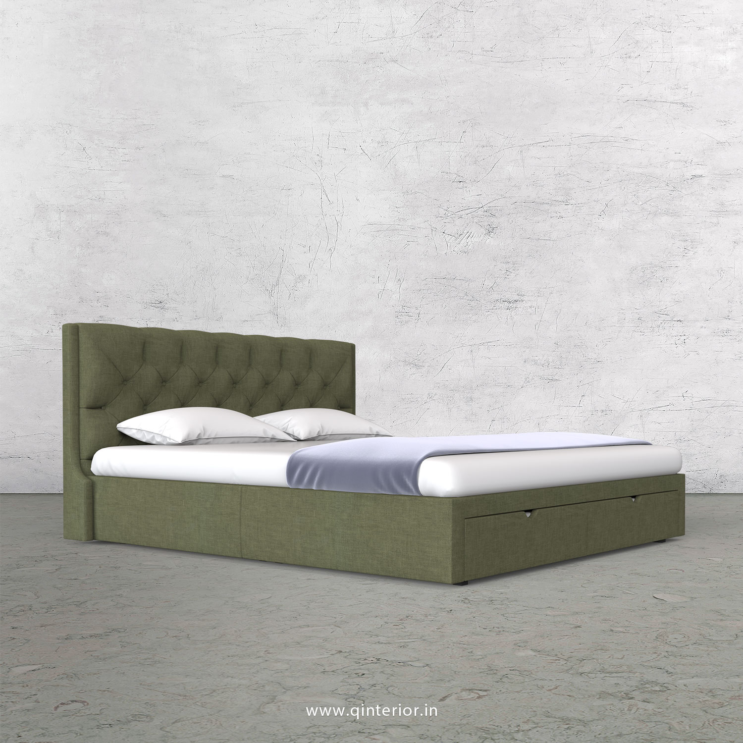 Scorpius King Size Storage Bed in Cotton Plain - KBD001 CP20
