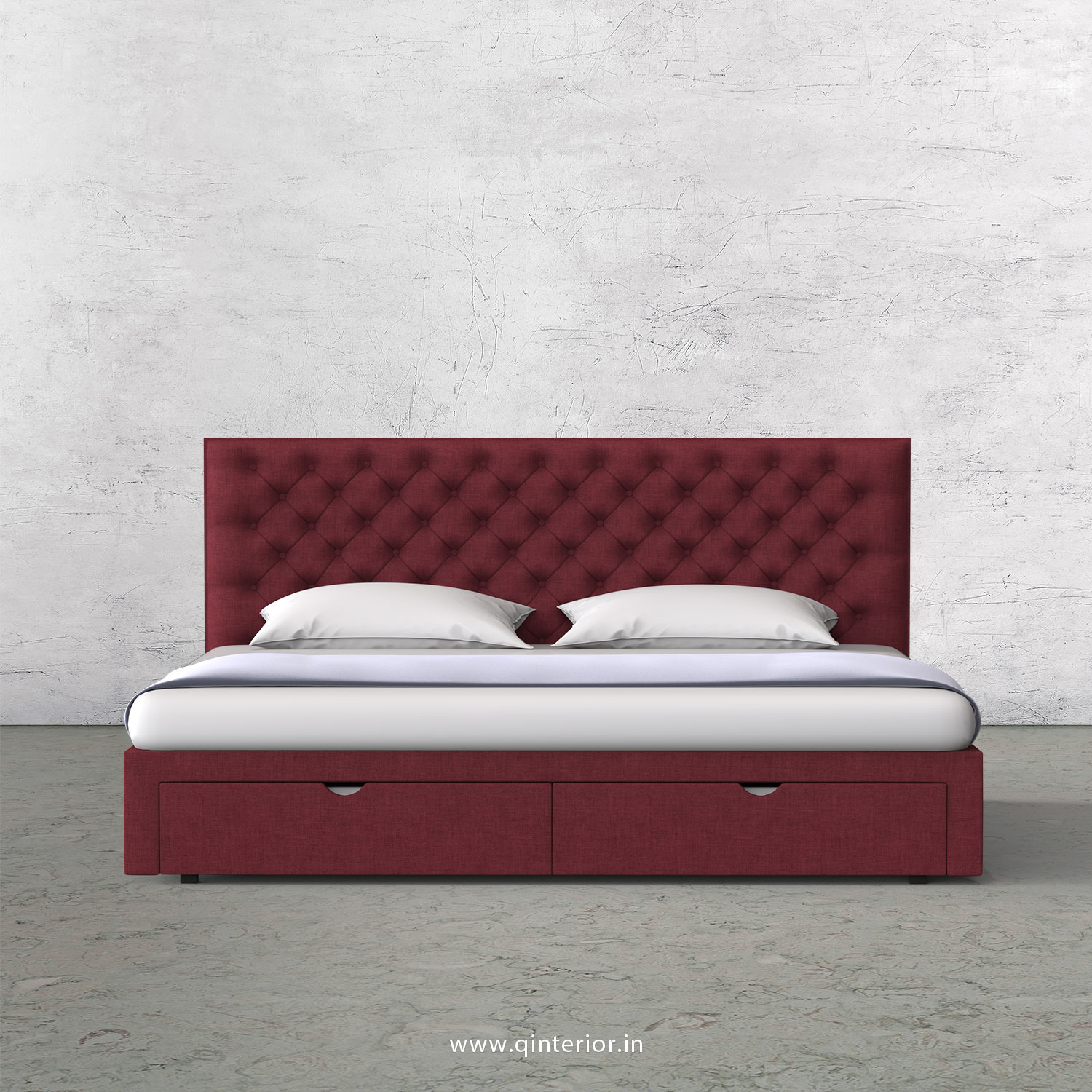 Orion King Size Storage Bed in Cotton Plain - KBD001 CP24