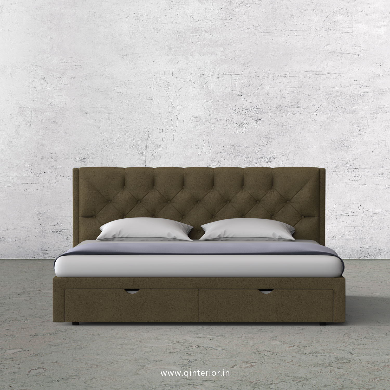 Scorpius King Size Storage Bed in Fab Leather Fabric - KBD001 FL01