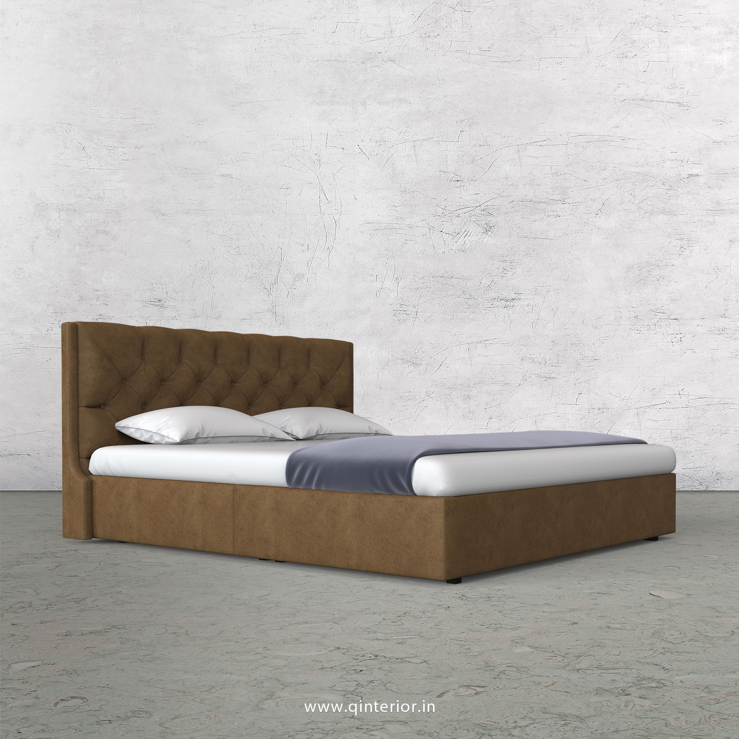 Scorpius Queen Bed in Fab Leather Fabric - QBD009 FL02