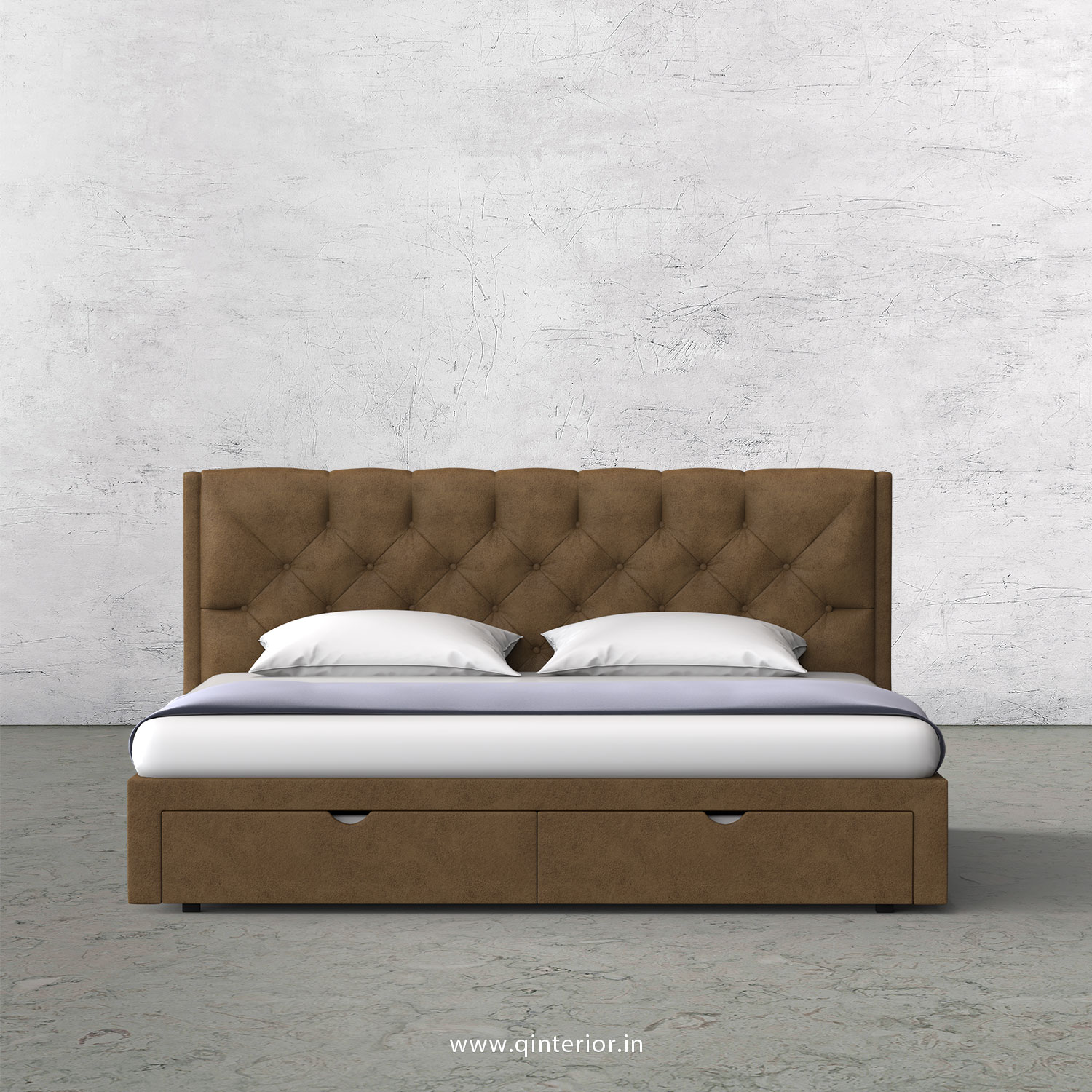 Scorpius King Size Storage Bed in Fab Leather Fabric - KBD001 FL02