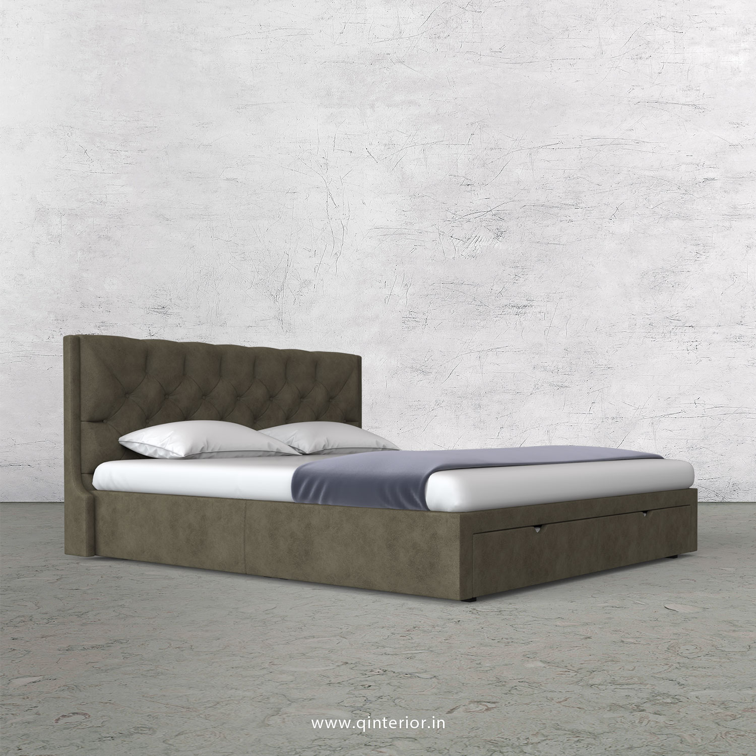 Scorpius King Size Storage Bed in Fab Leather Fabric - KBD001 FL03