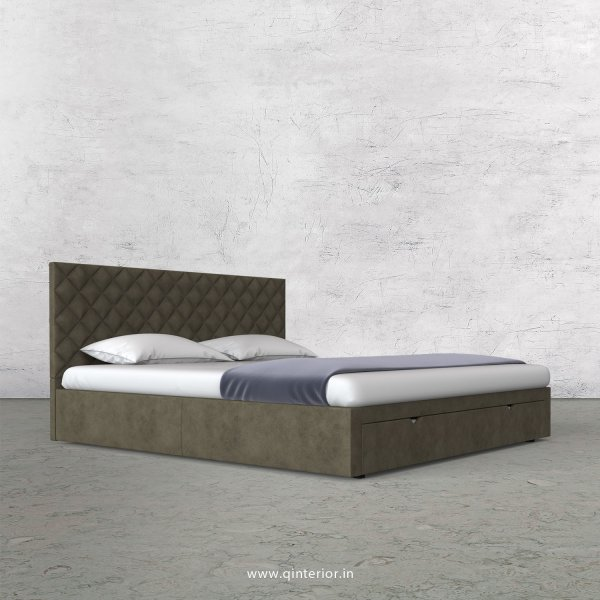 Aquila King Size Storage Bed in Fab Leather Fabric - KBD001 FL03