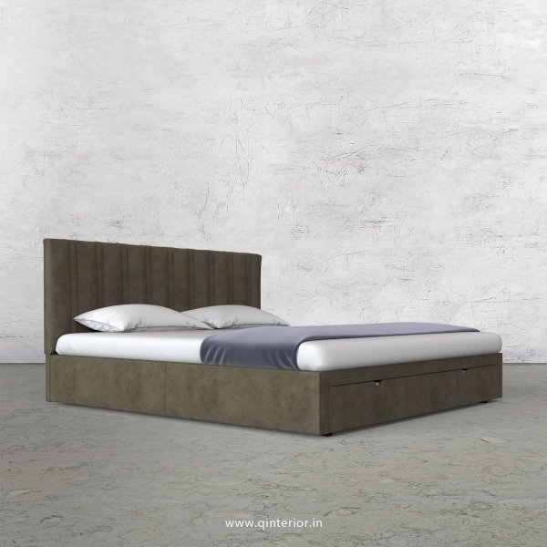 Leo King Size Storage Bed in Fab Leather Fabric - KBD001 FL03