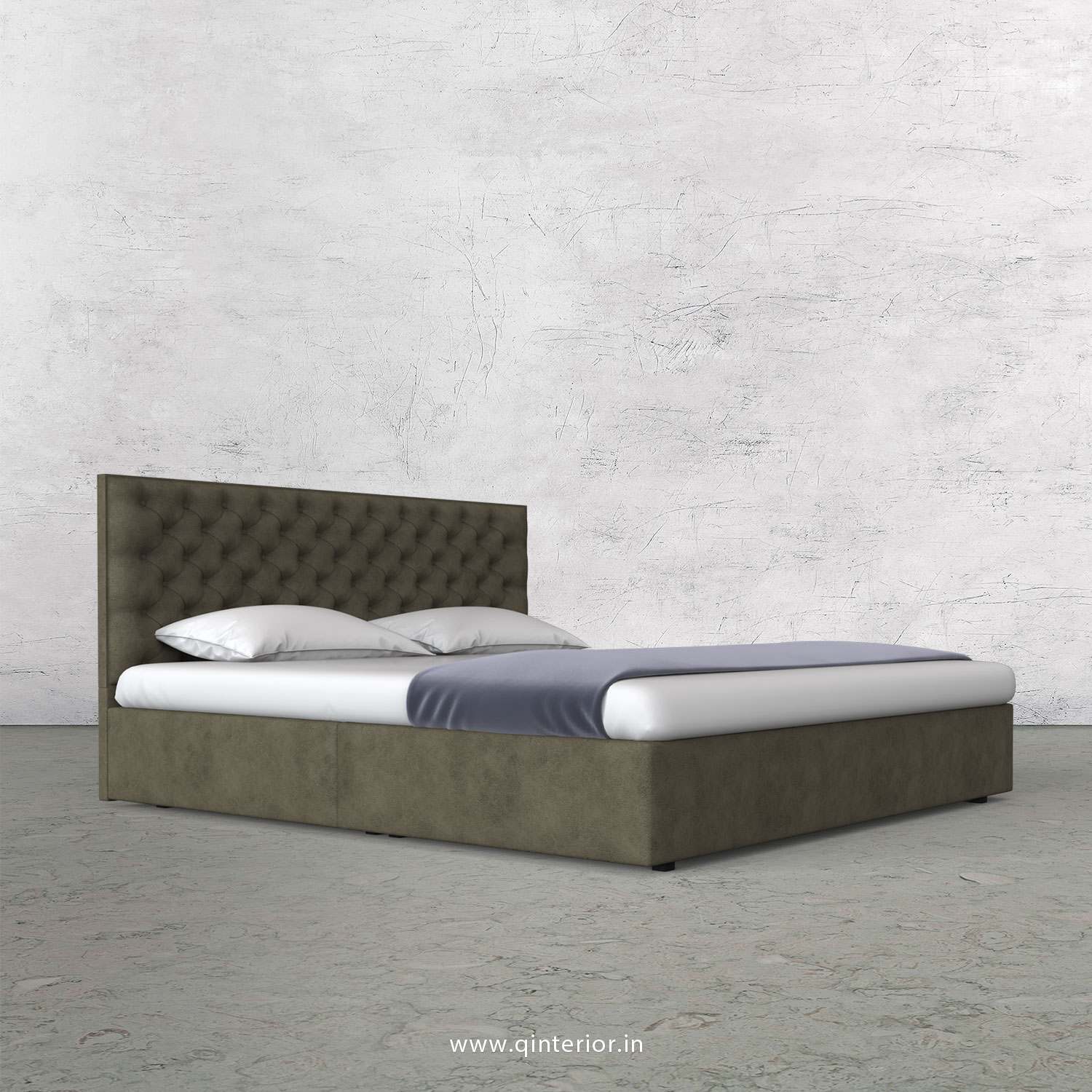 Orion King Size Bed in Fab Leather Fabric - KBD009 FL03