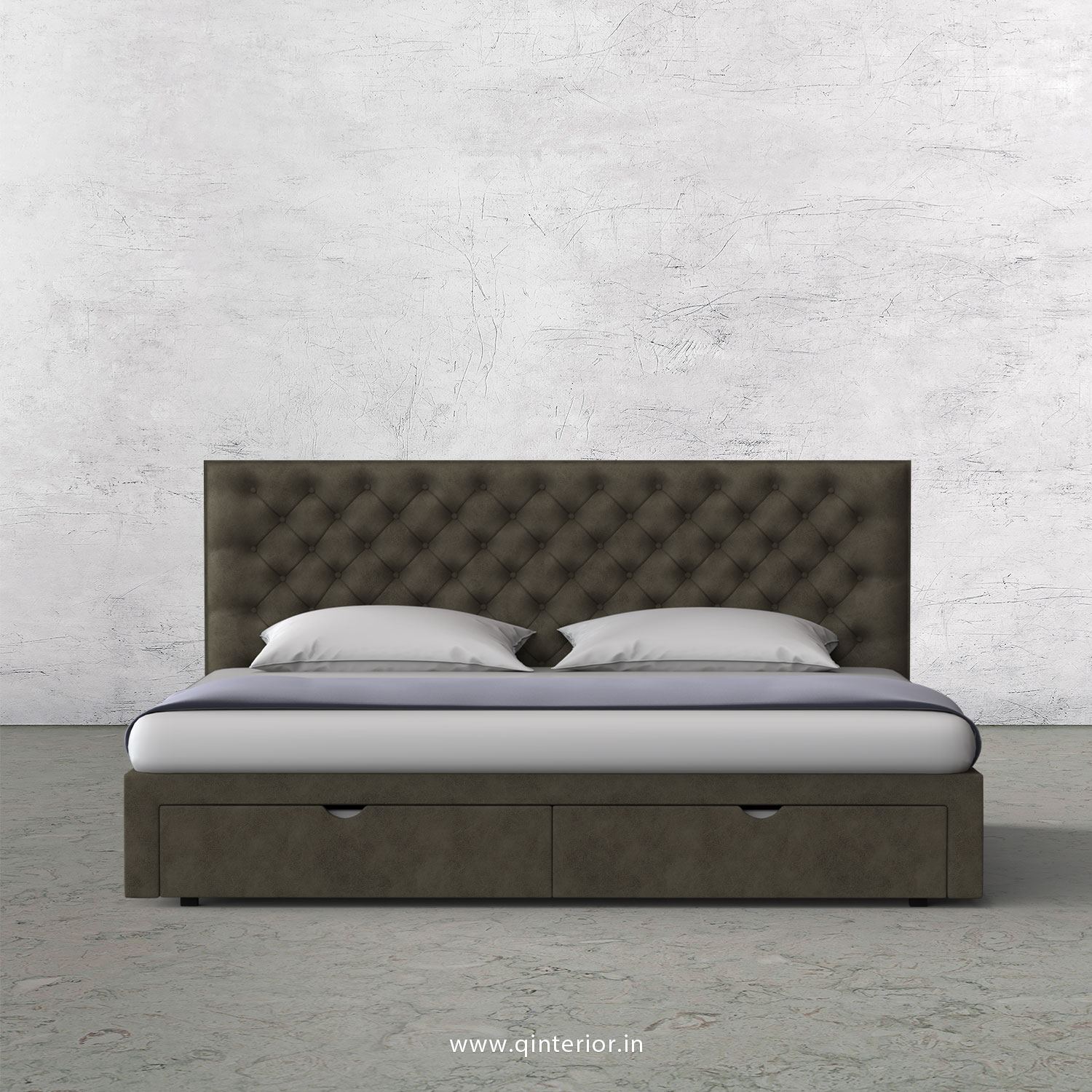 Orion King Size Storage Bed in Fab Leather Fabric - KBD001 FL03