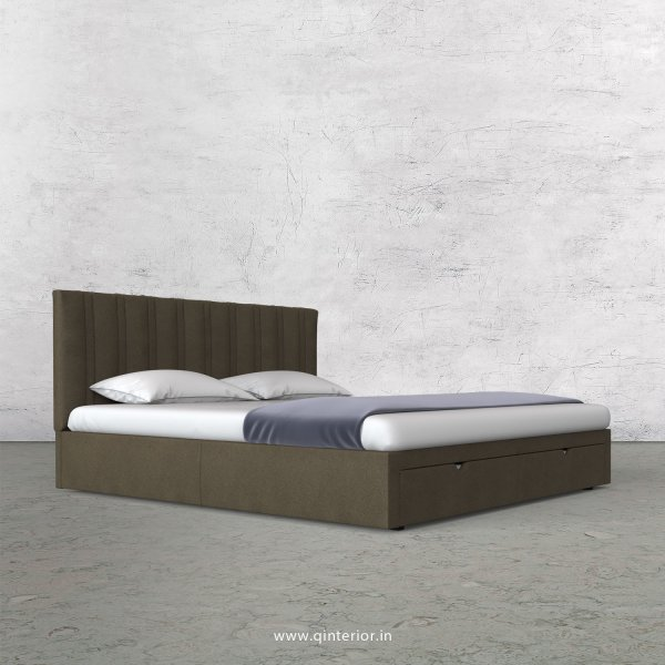 Leo King Size Storage Bed in Fab Leather Fabric - KBD001 FL06