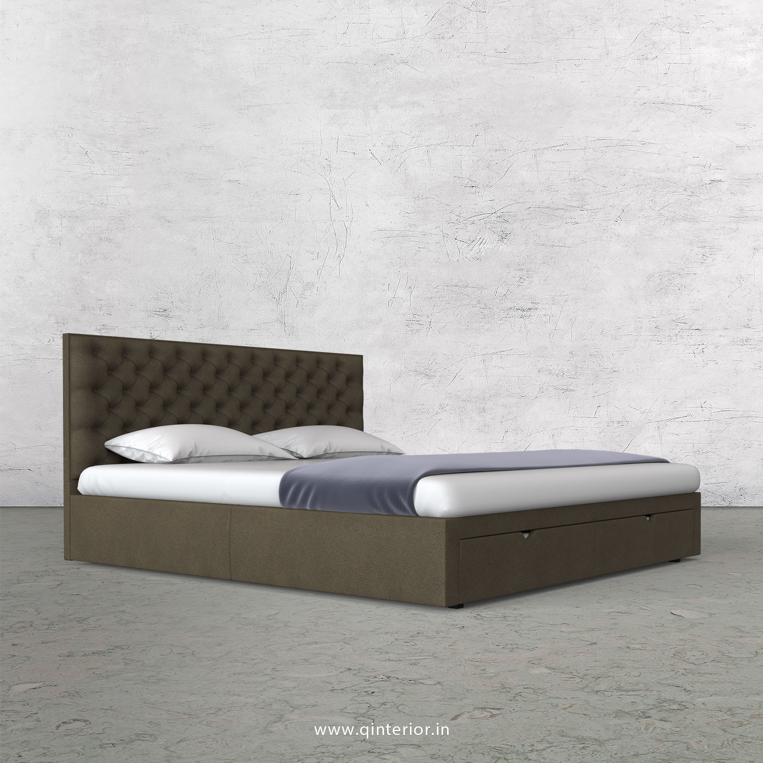 Orion Queen Storage Bed in Fab Leather Fabric - QBD001 FL06