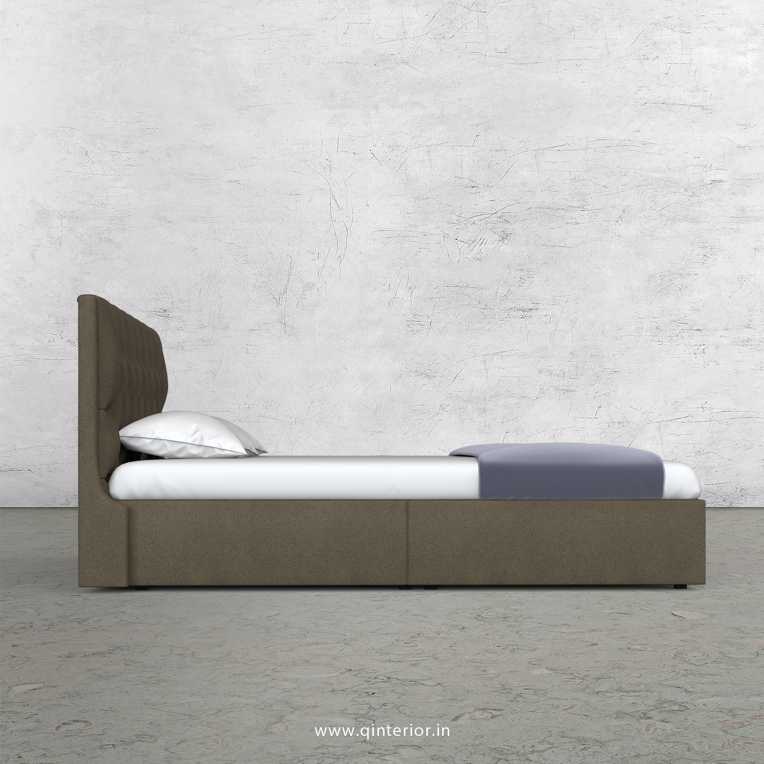 Scorpius King Size Storage Bed in Fab Leather Fabric - KBD001 FL06