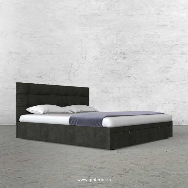 Lyra King Size Storage Bed in Fab Leather Fabric - KBD001 FL07