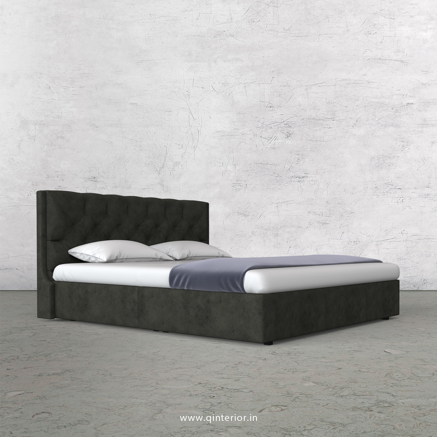 Scorpius King Size Bed in Fab Leather Fabric - KBD009 FL07