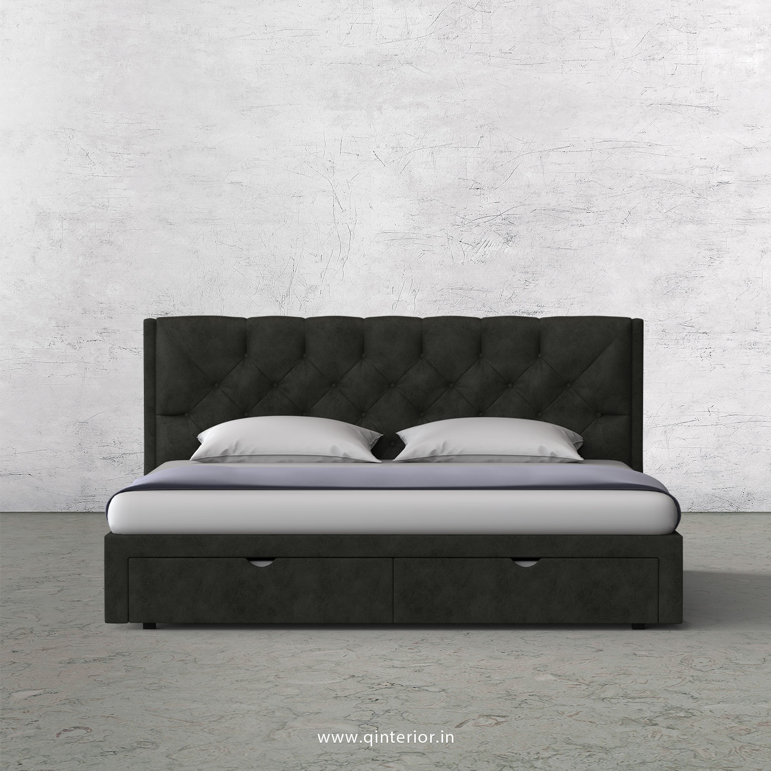 Scorpius King Size Storage Bed in Fab Leather Fabric - KBD001 FL07