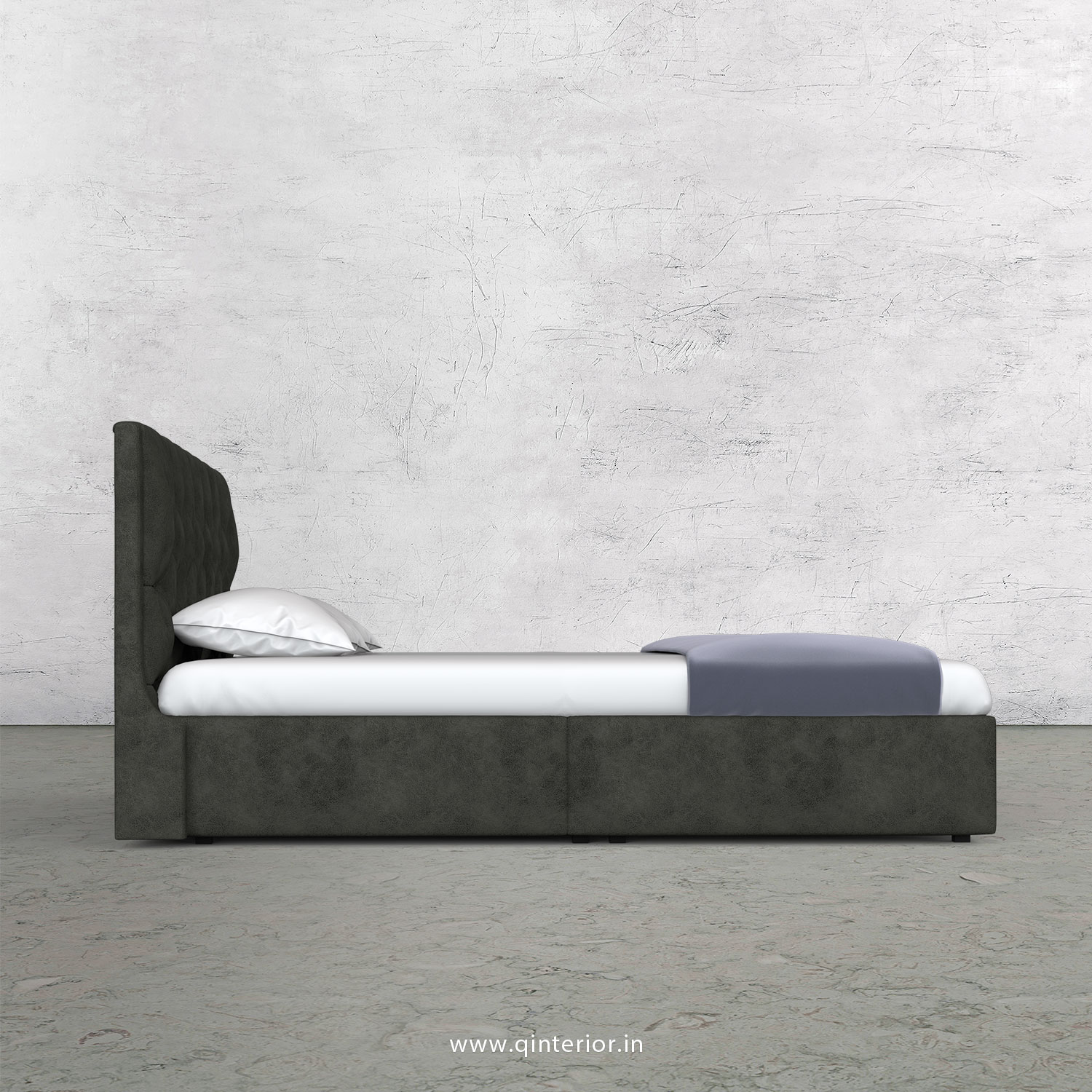 Scorpius Queen Bed in Fab Leather Fabric - QBD009 FL07