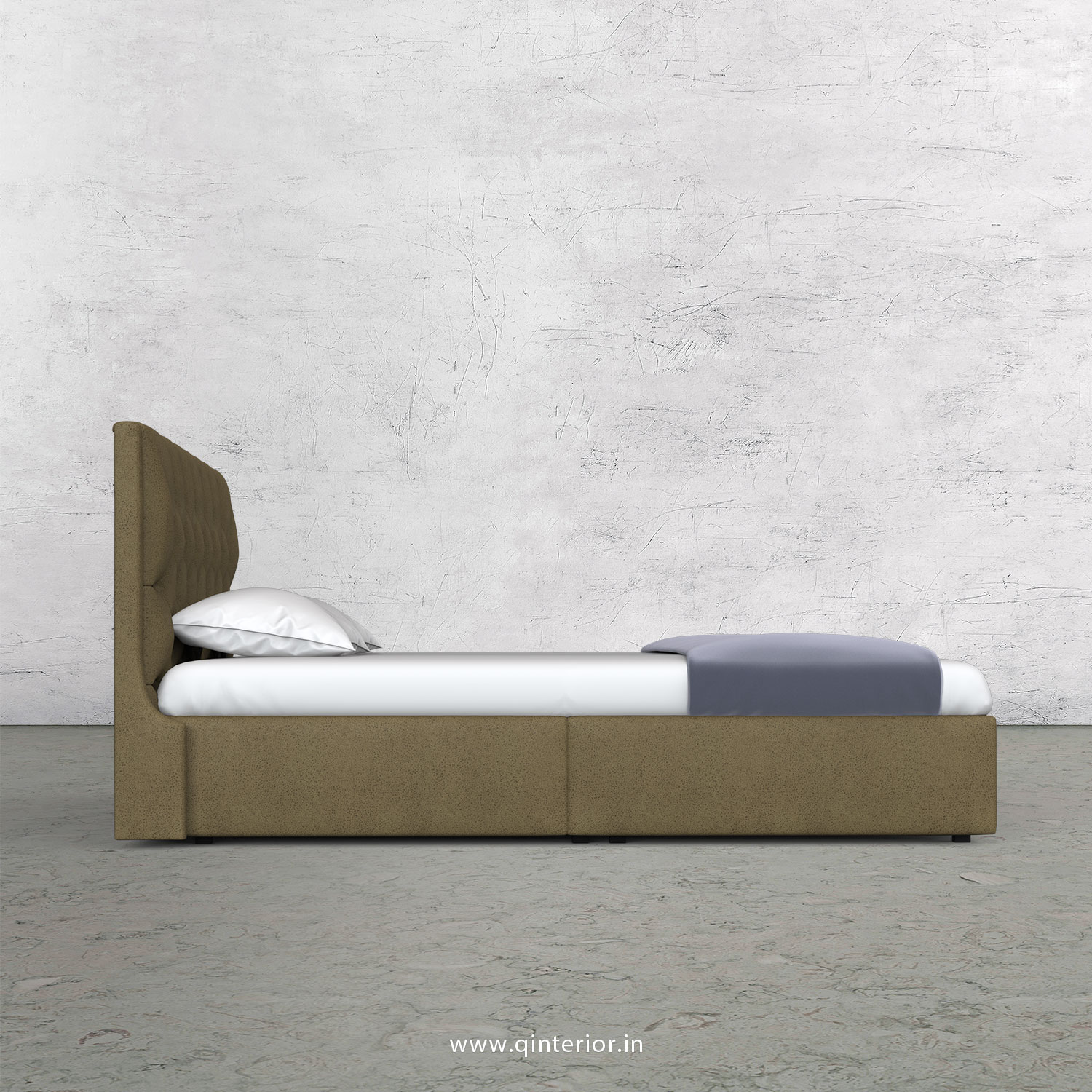 Scorpius Queen Bed in Fab Leather Fabric - QBD009 FL01