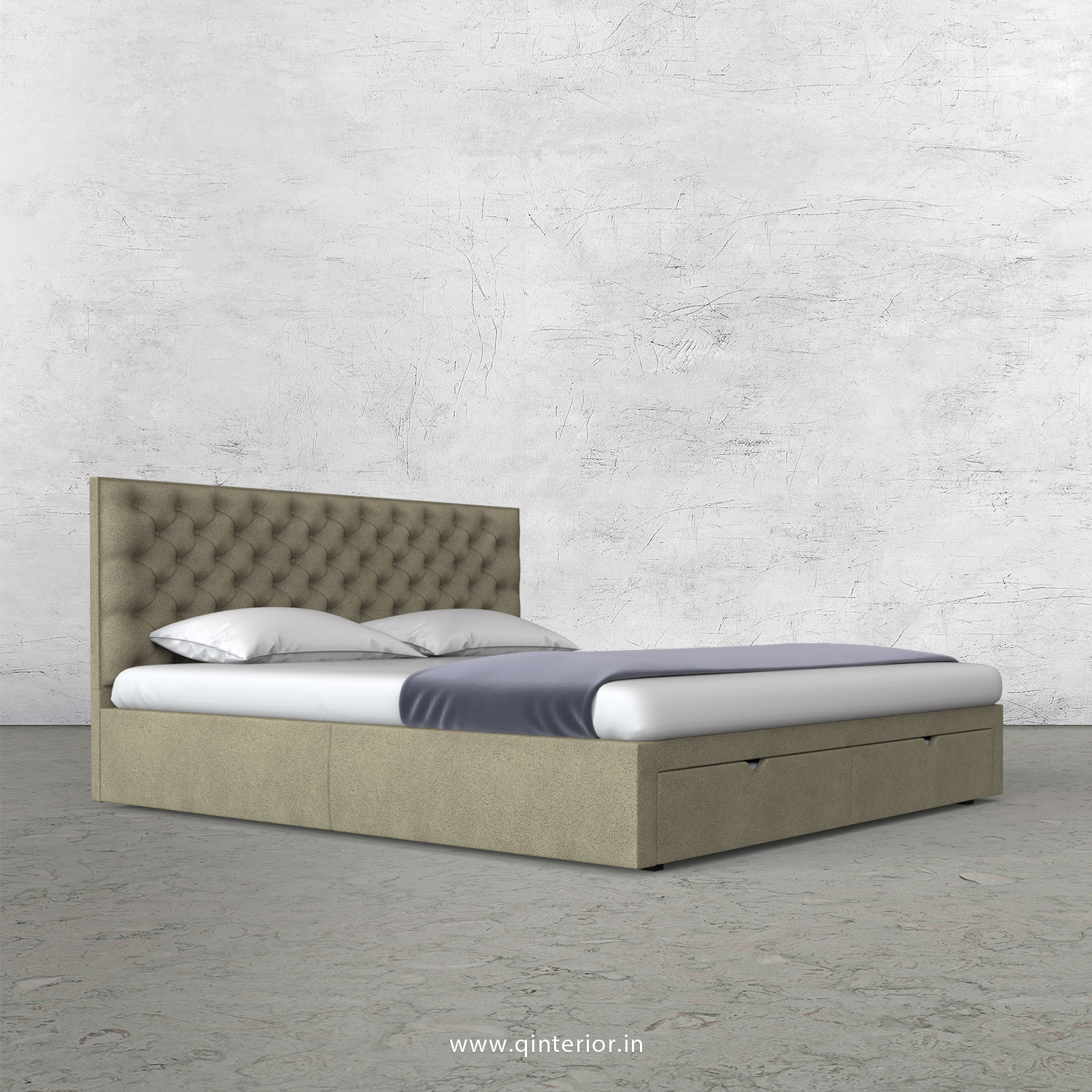 Orion Queen Storage Bed in Fab Leather Fabric - QBD001 FL10