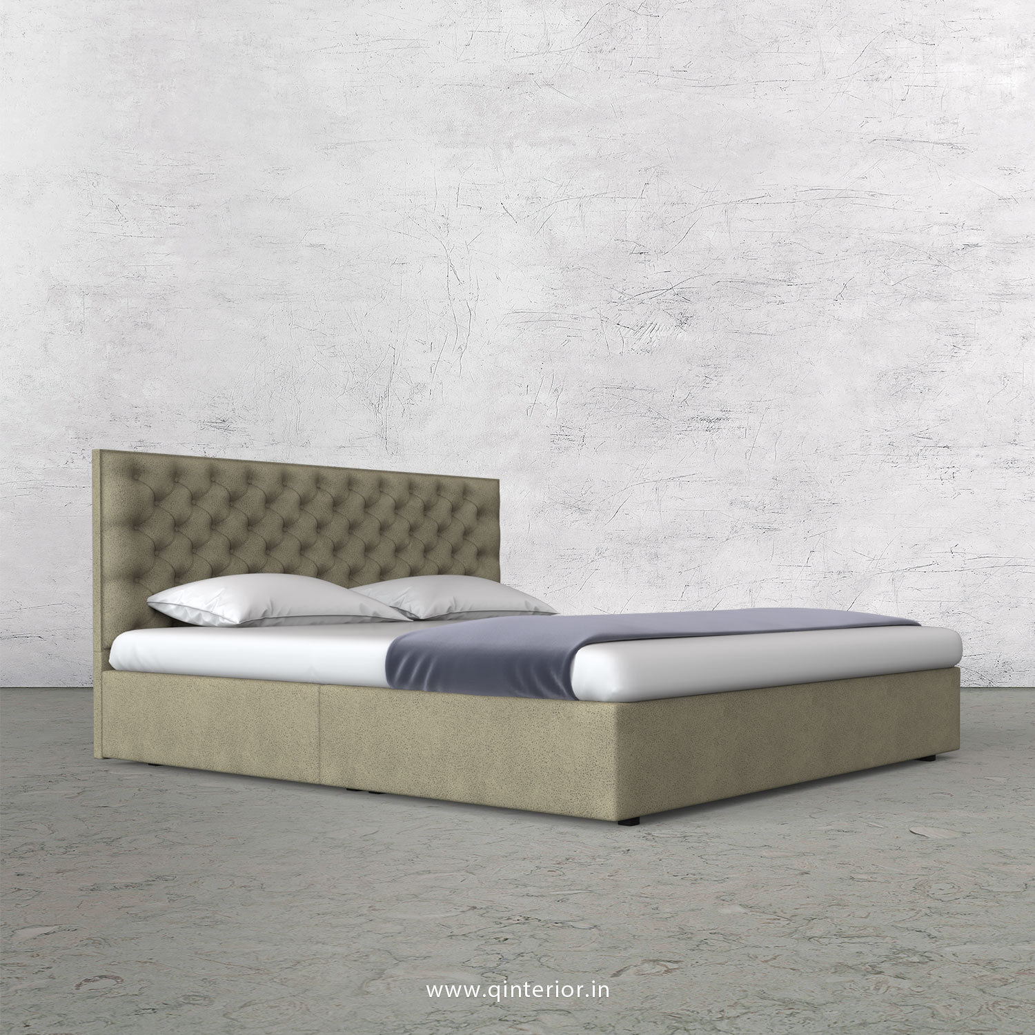 Orion King Size Bed in Fab Leather Fabric - KBD009 FL10