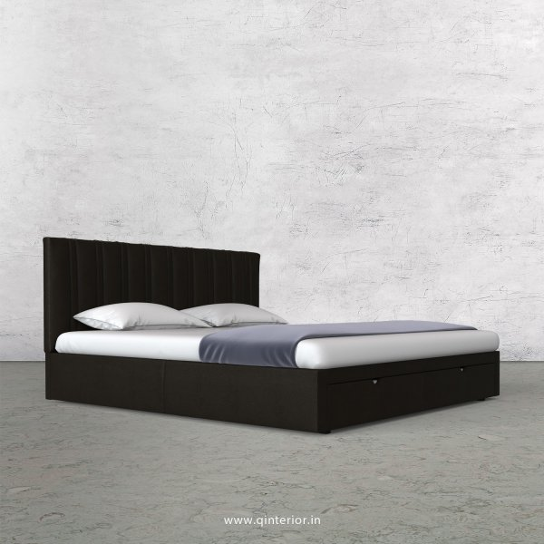 Leo Queen Storage Bed in Fab Leather Fabric - QBD001 FL11