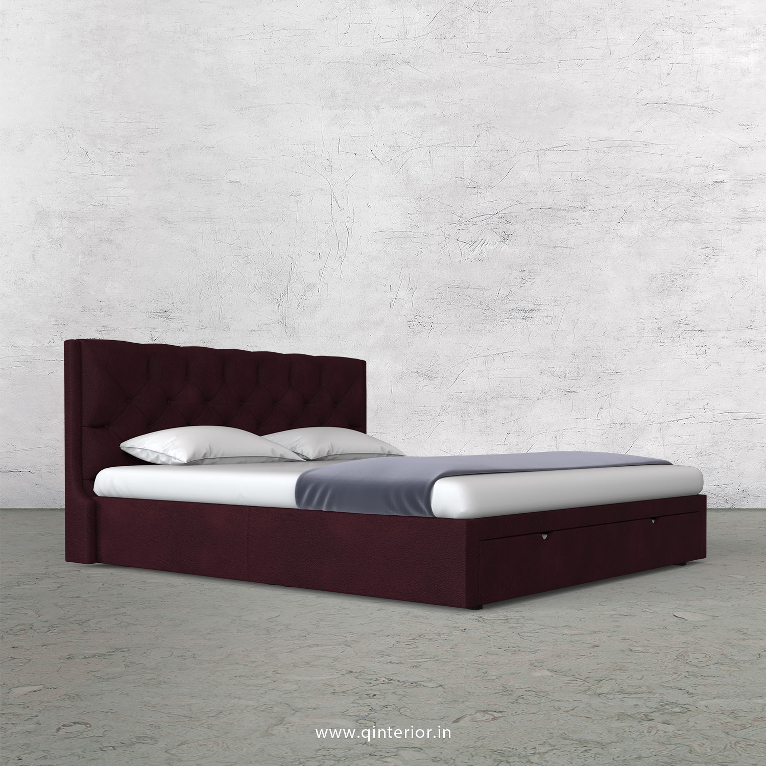 Scorpius Queen Storage Bed in Fab Leather Fabric - QBD001 FL12