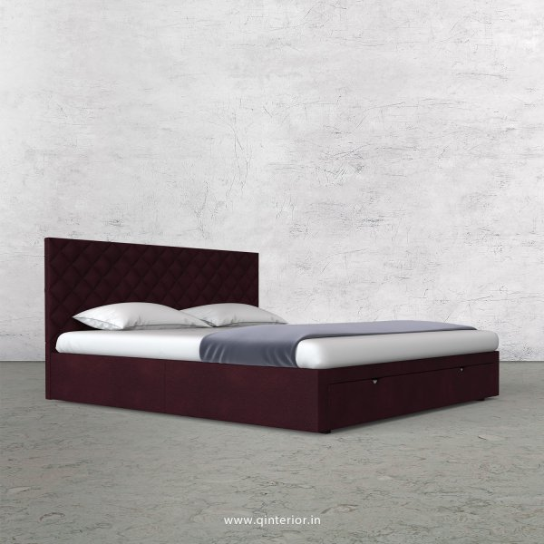 Aquila King Size Storage Bed in Fab Leather Fabric - KBD001 FL12