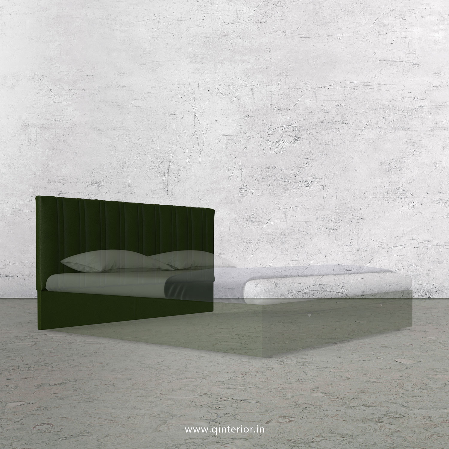 Leo Bed Headboard In Fab Leather Fabric Bhb004 Fl04 In Olive Green Color By Q Interior