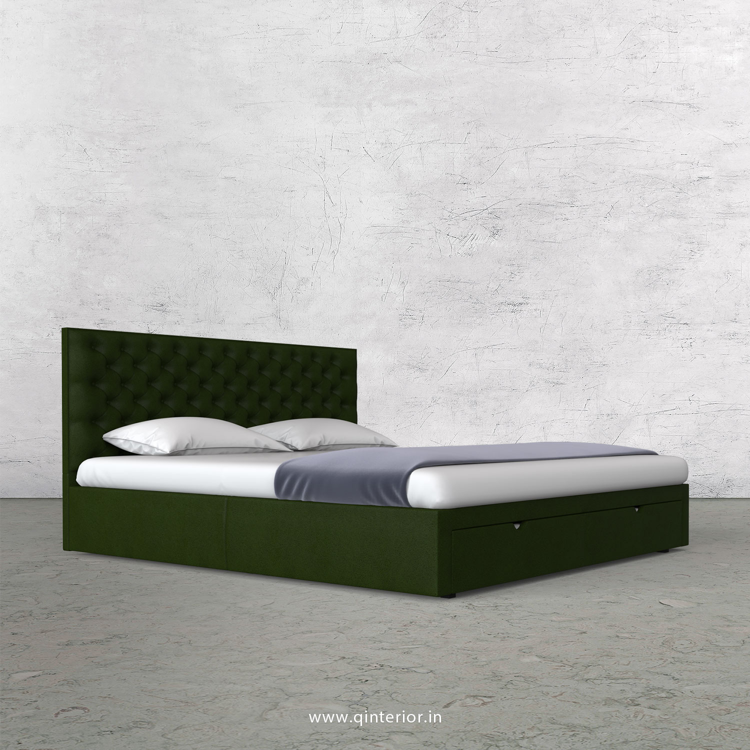 Orion Queen Storage Bed in Fab Leather Fabric - QBD001 FL04