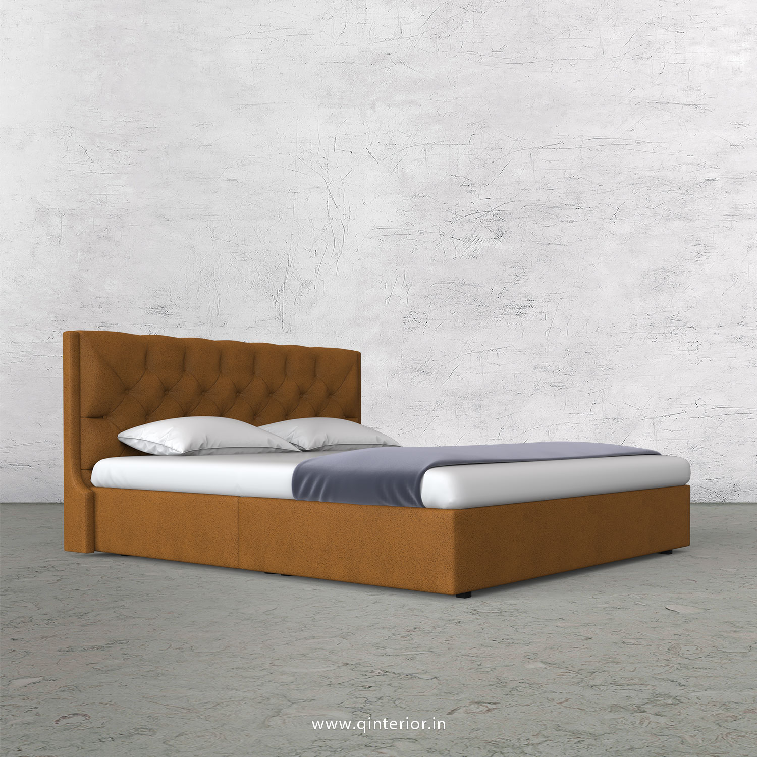 Scorpius King Size Bed in Fab Leather Fabric - KBD009 FL14