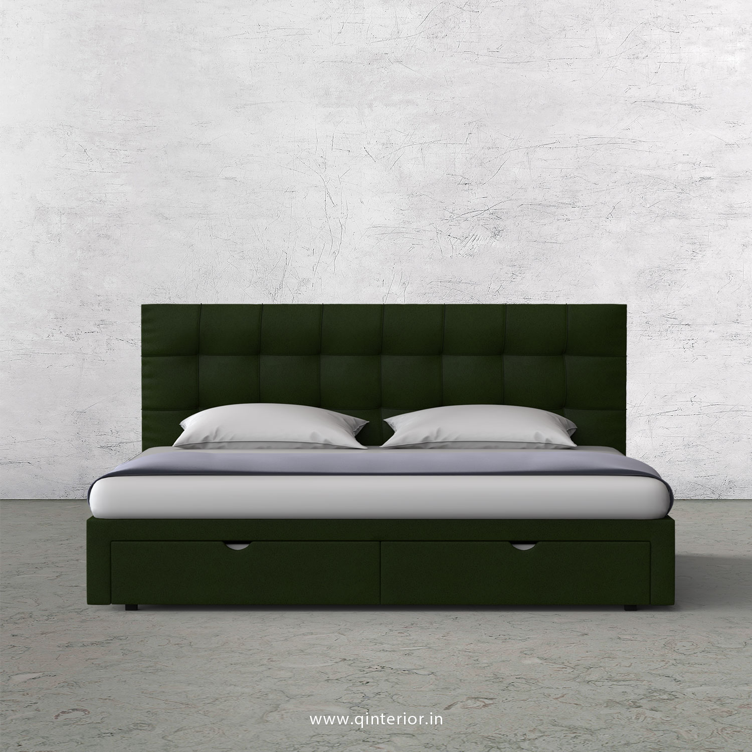Lyra King Size Storage Bed In Fab Leather Fabric Kbd001 Fl04 In Olive Green Color By Q Interior