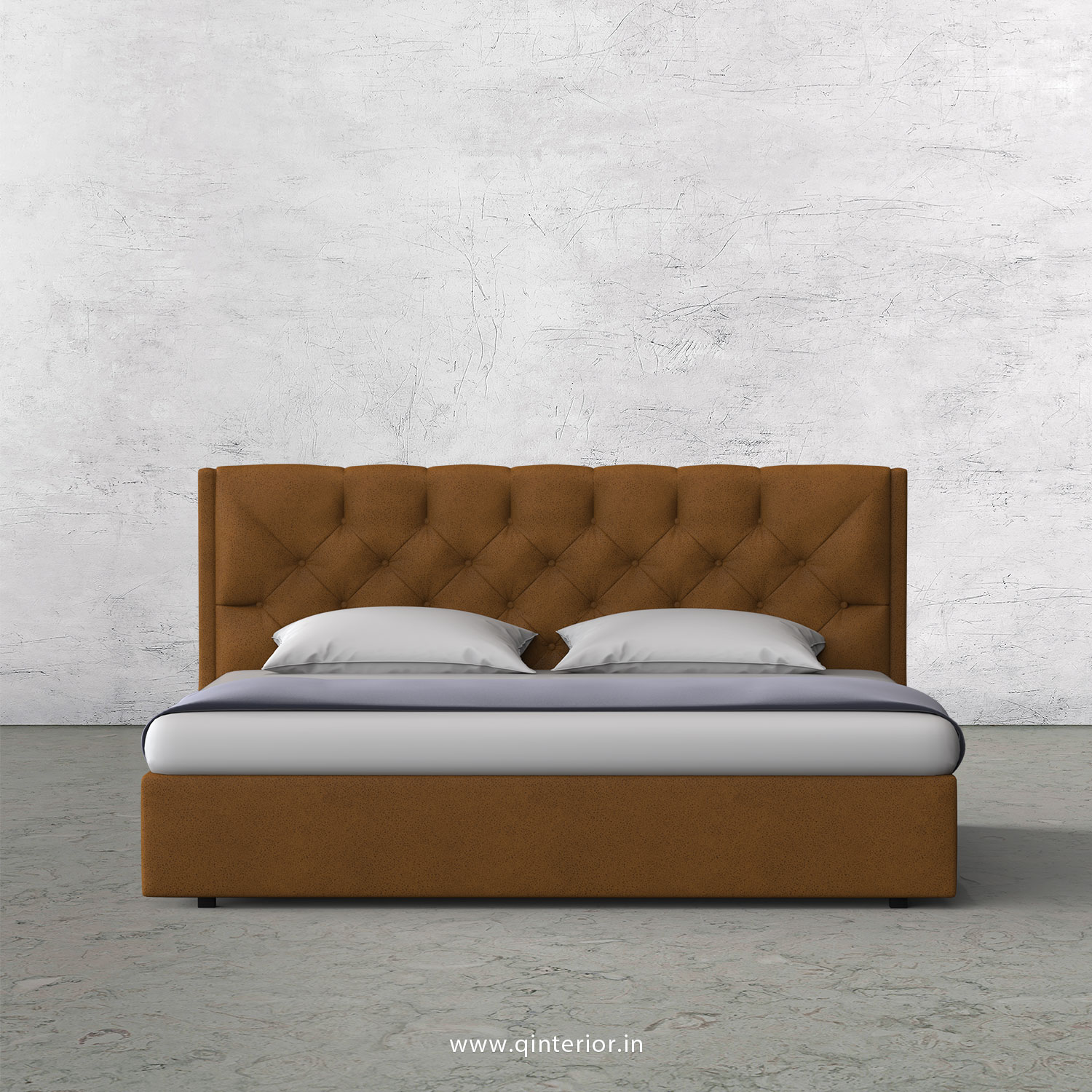 Scorpius Queen Bed in Fab Leather Fabric - QBD009 FL14