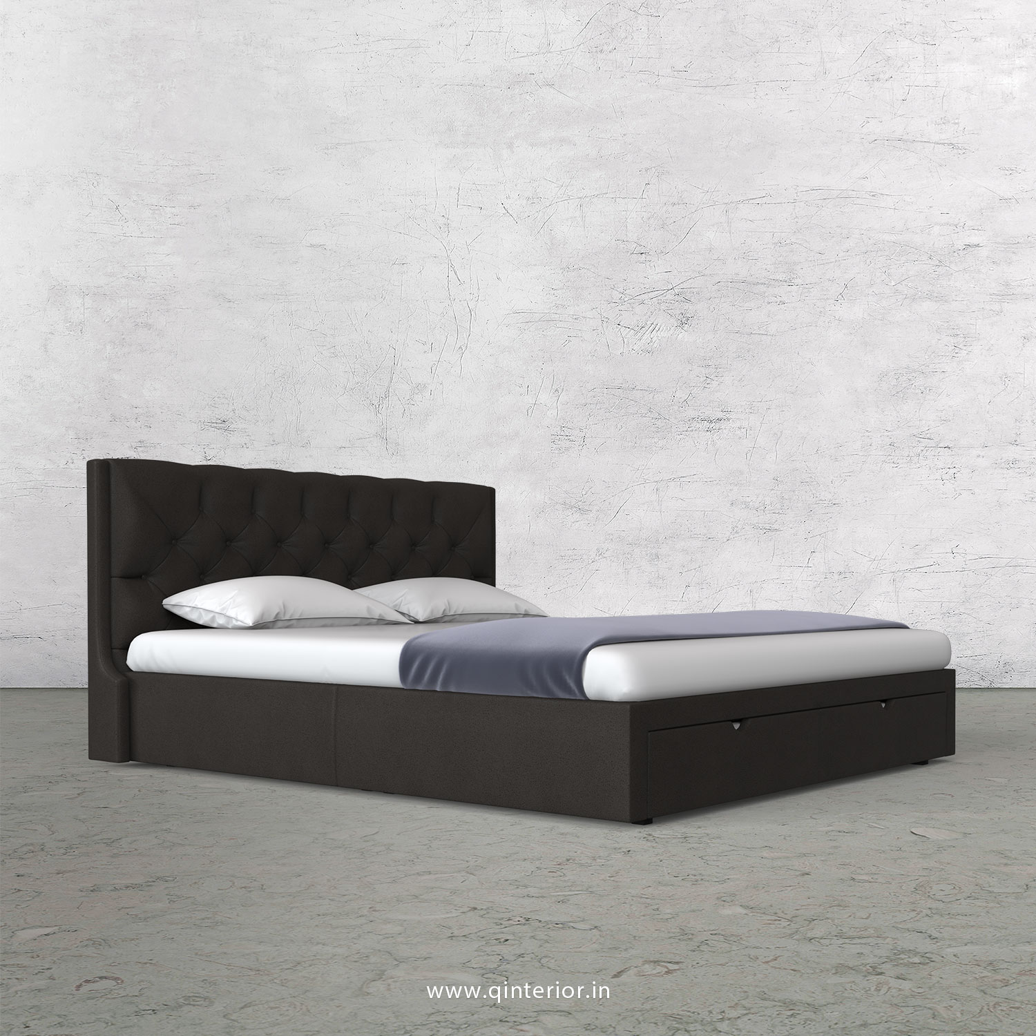 Scorpius King Size Storage Bed in Fab Leather Fabric - KBD001 FL15