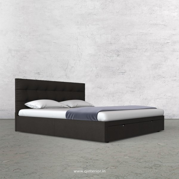 Lyra King Size Storage Bed in Fab Leather Fabric - KBD001 FL15