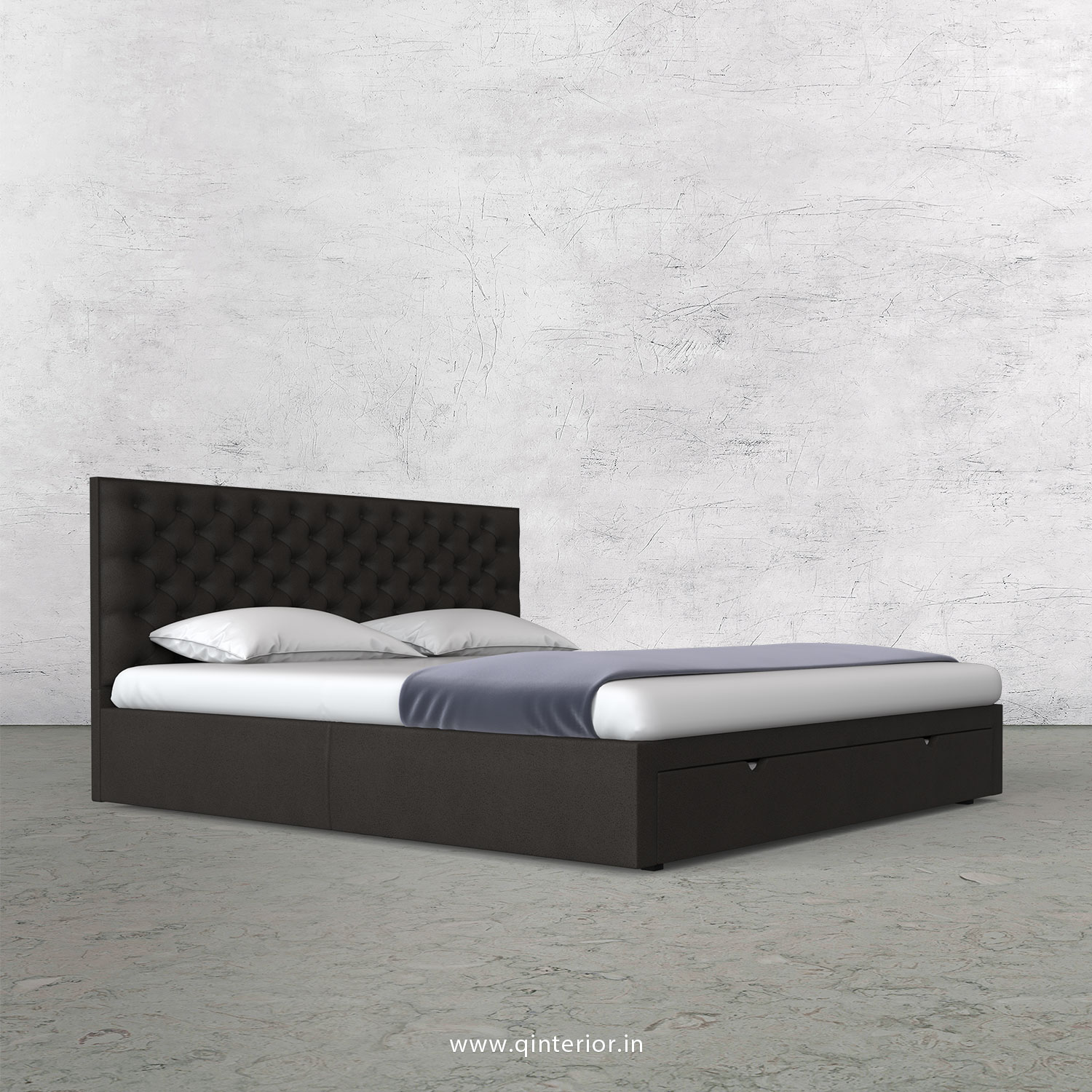 Orion Queen Storage Bed in Fab Leather Fabric - QBD001 FL15