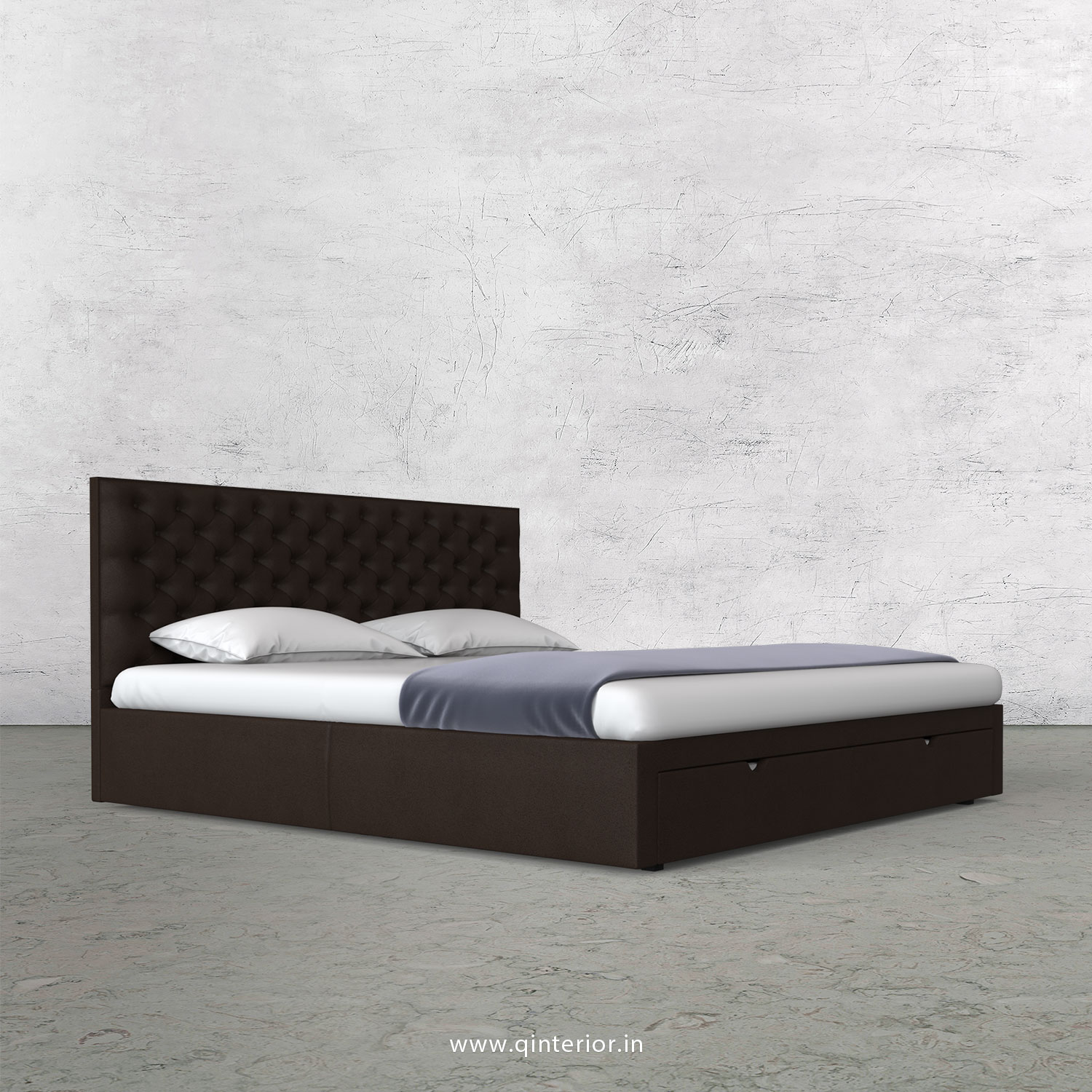 Orion Queen Storage Bed in Fab Leather Fabric - QBD001 FL16