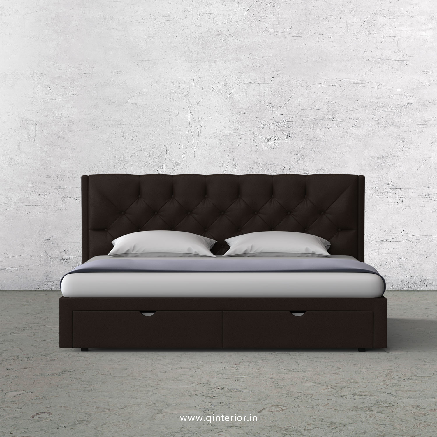 Scorpius King Size Storage Bed in Fab Leather Fabric - KBD001 FL16