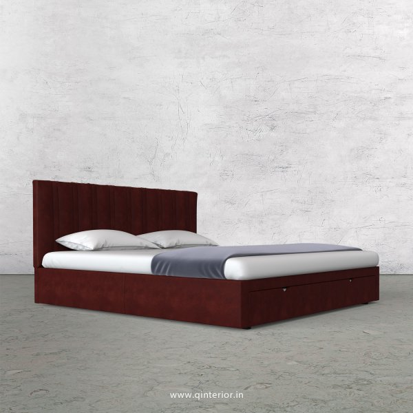 Leo King Size Storage Bed in Fab Leather Fabric - KBD001 FL17