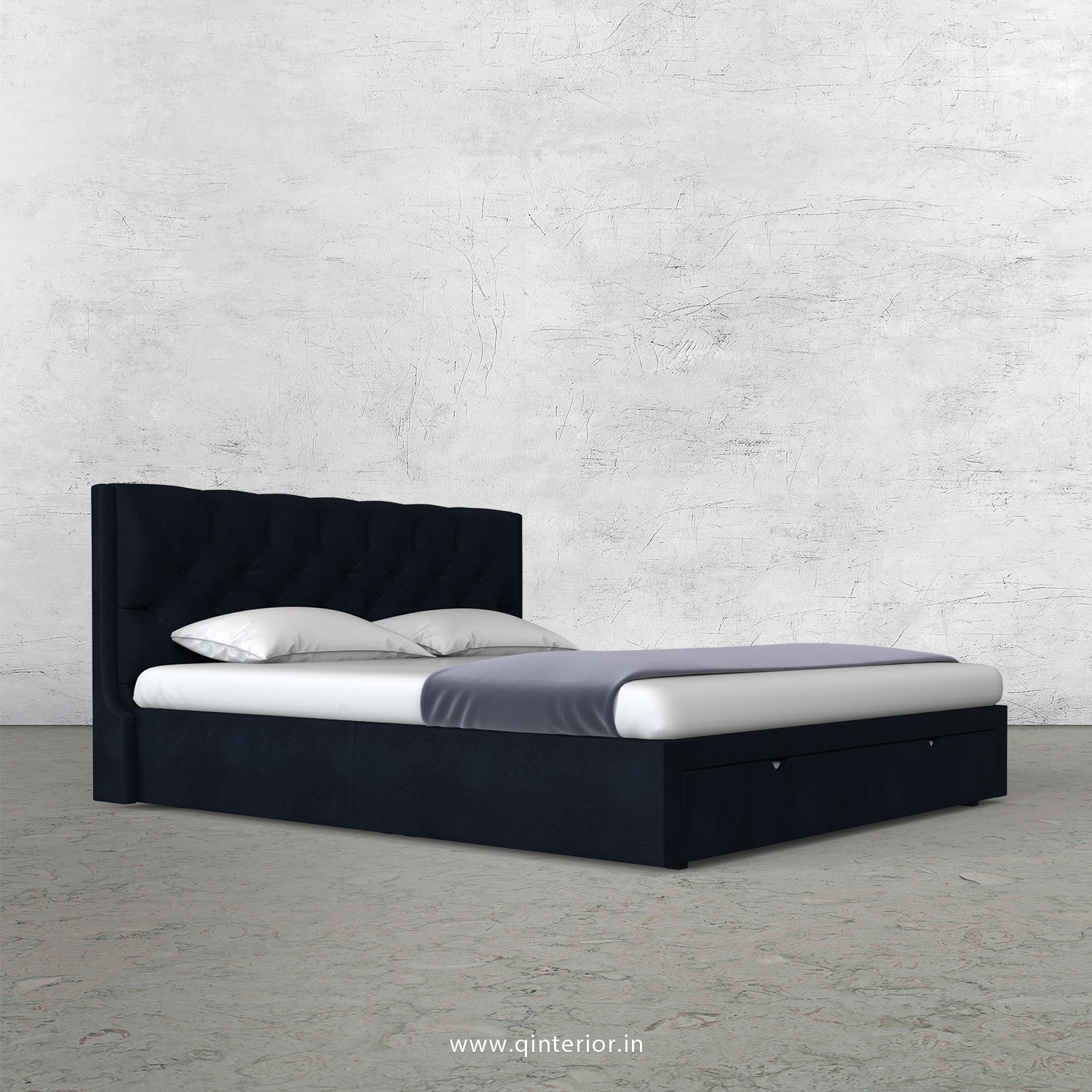 Scorpius King Size Storage Bed in Fab Leather Fabric - KBD001 FL05