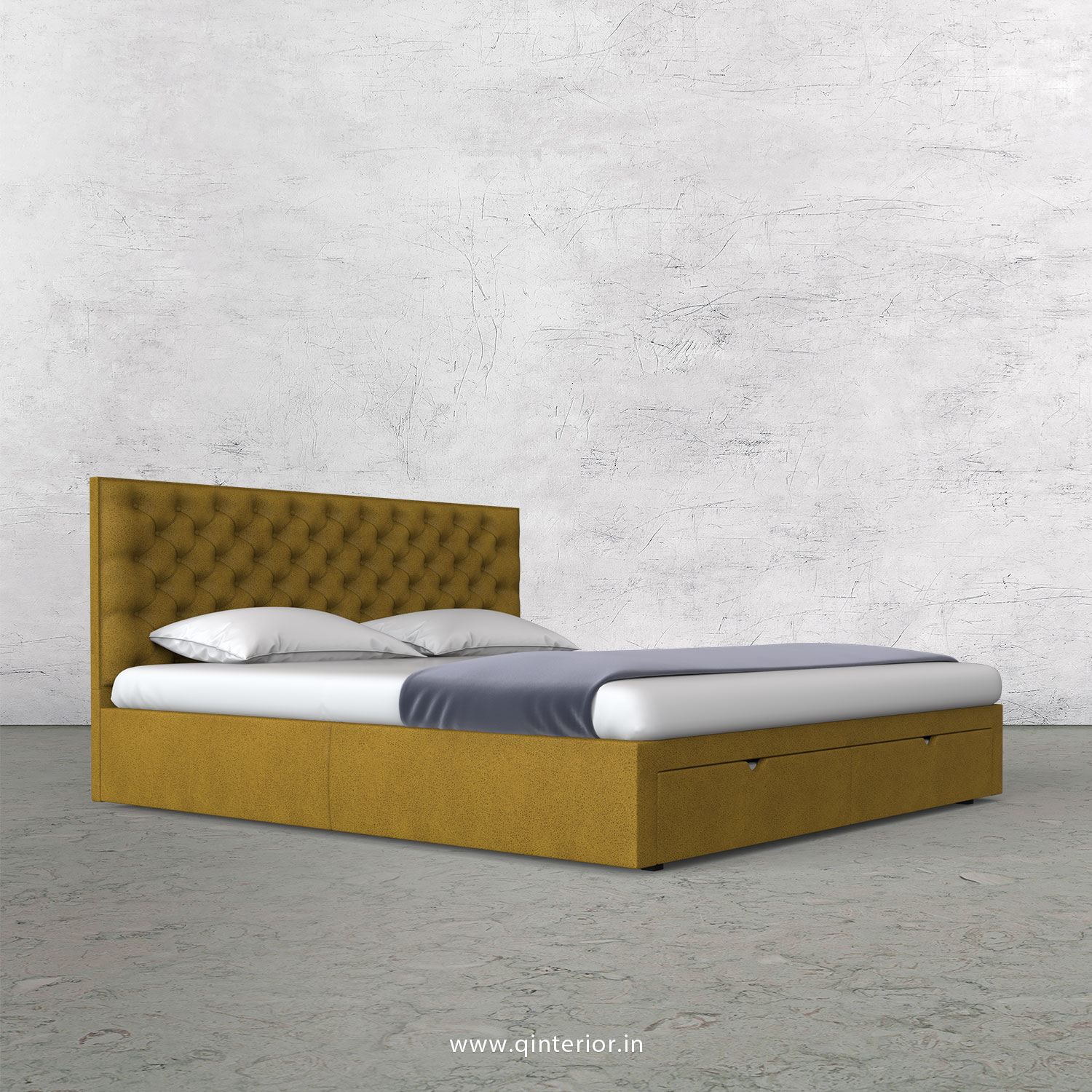 Orion King Size Storage Bed in Fab Leather Fabric - KBD001 FL18