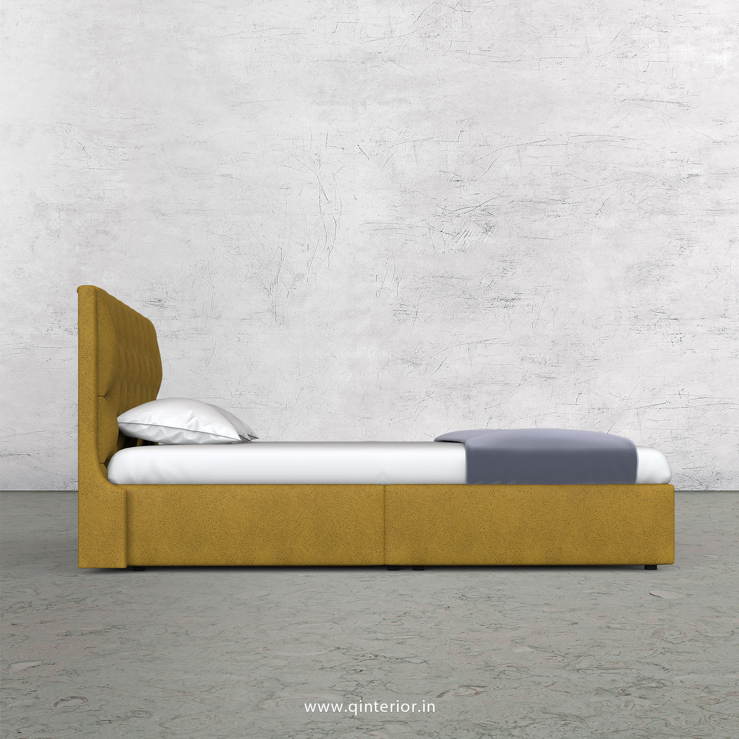 Scorpius King Size Bed in Fab Leather Fabric - KBD009 FL18