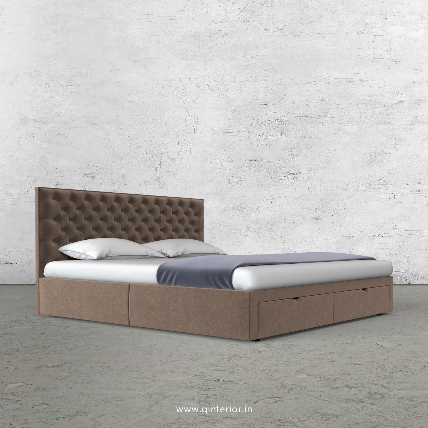 Orion Queen Storage Bed in Velvet Fabric - QBD001 VL02